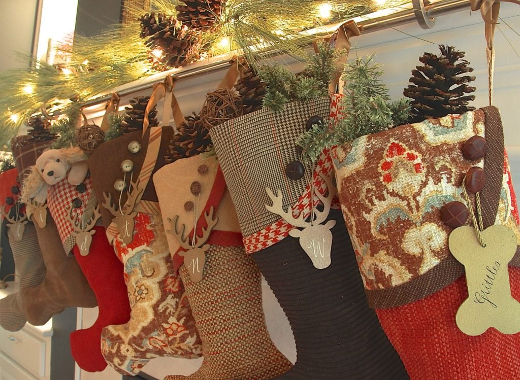 Christmas Stockings in Browns with Red
