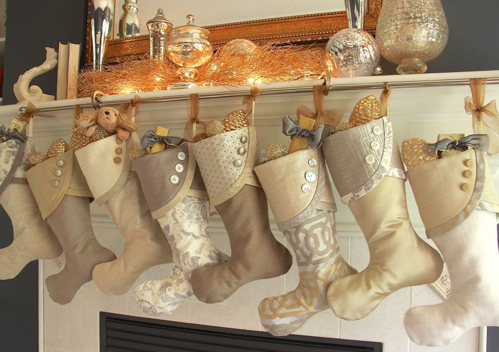 Luxe Christmas Stockings in Silver and Gold