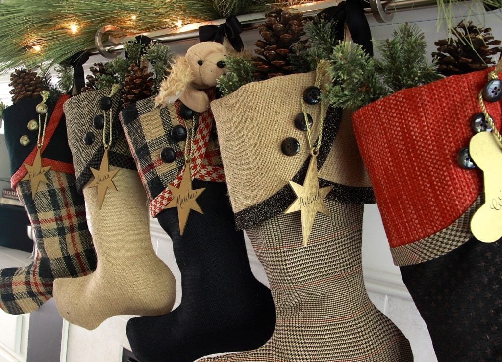 Black and Gold with Red Christmas Stockings