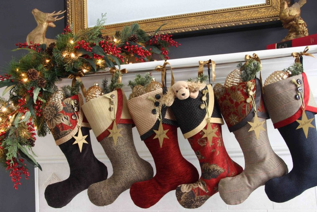 Masterpiece Christmas Stockings with Gold Star Name Tags