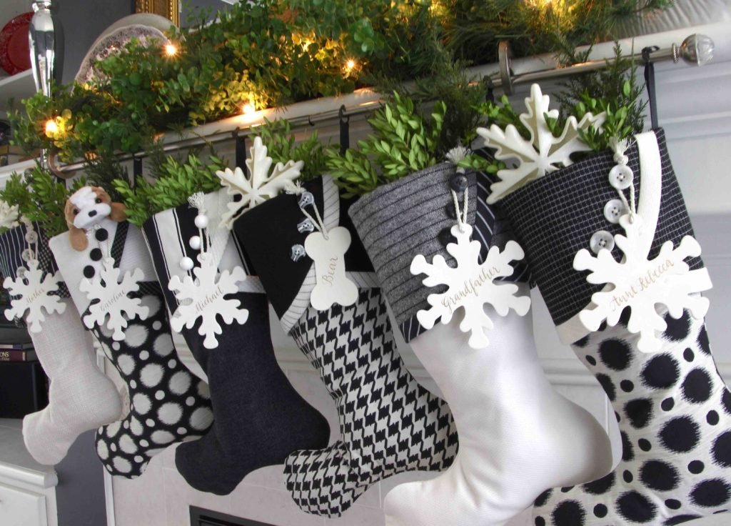 Black and white Christmas Stockings with snowflake name tags
