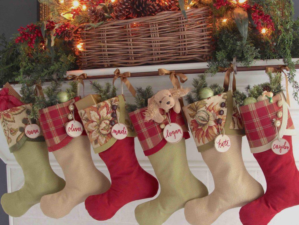 Irish Tidings Christmas Stockings with Red Birch Tree Slices