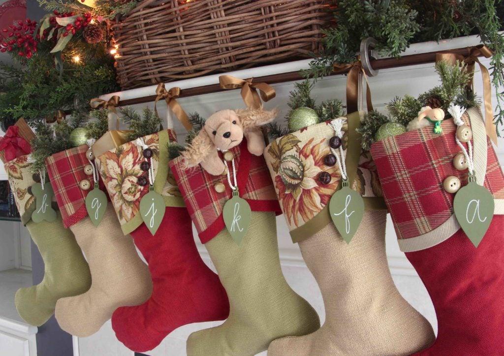 Irish Tidings Christmas Stockings with Green Light Bulb Name Tags