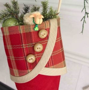 Red with Plaid Cuff Irish Tidings Christmas Stocking