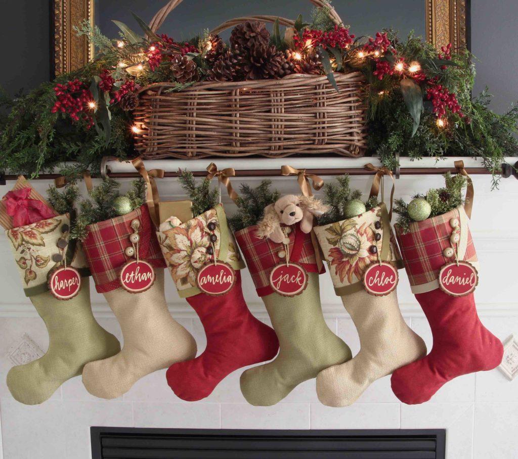 Irish Tidings Christmas Stokings with Red Tree Slice Name Tags