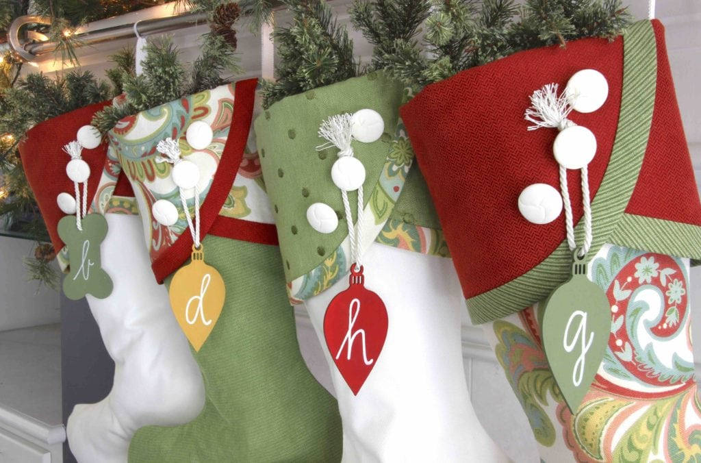 paisley panache christmas stockings with multi colored bulb name tags - Red And Green Christmas Stockings