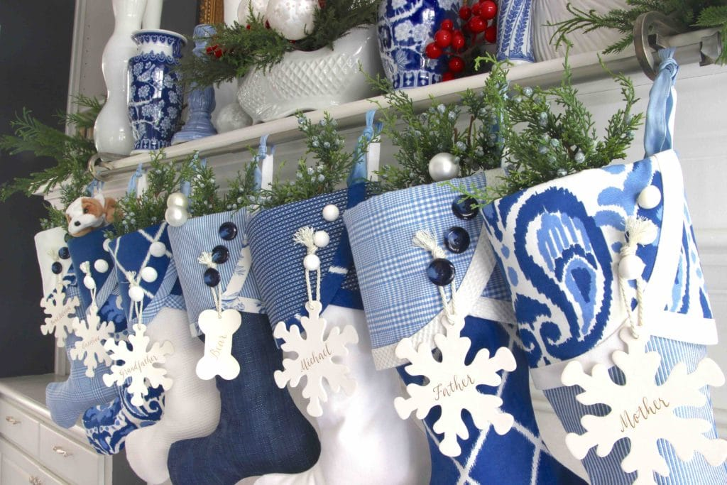 Blue and White Christmas Stockings with Snowflake Name Tags