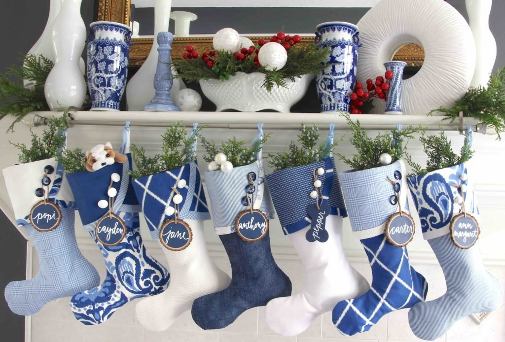 Blue and White Christmas Stockings with Blue Wood Slice Name Tags