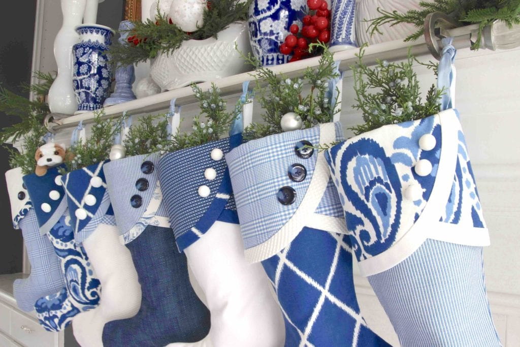 Blue and White Christmas Stockings with No Tags