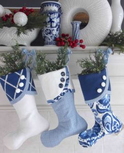 Blue and White Christmas Stockings