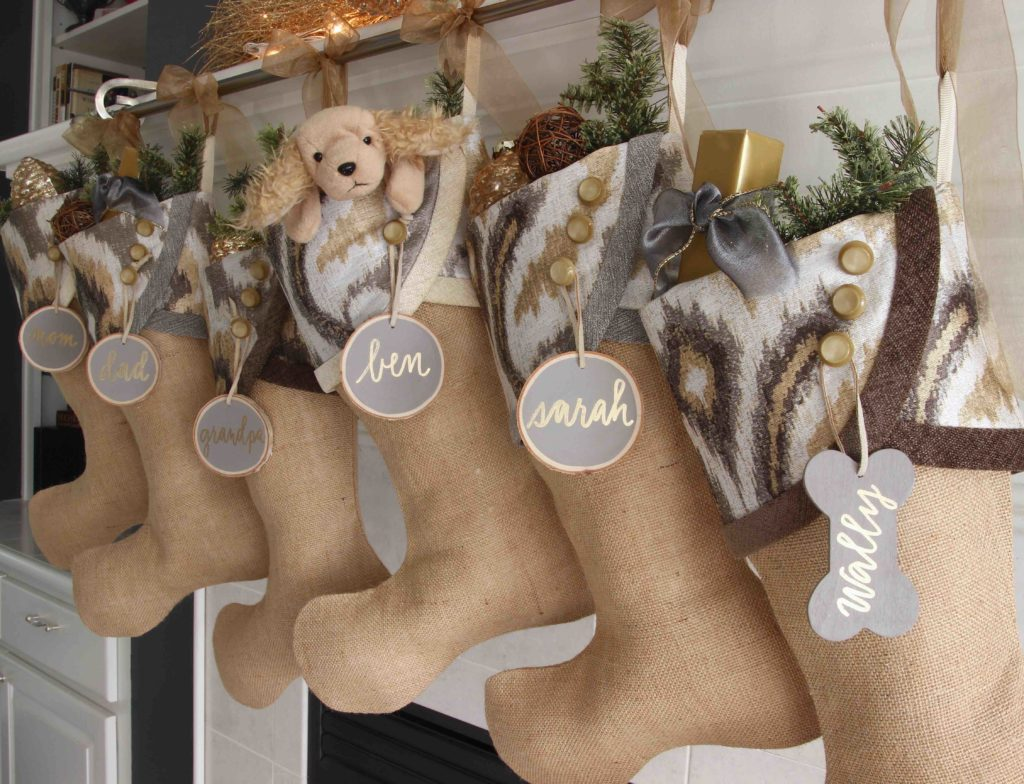 Contemporary Christmas Stockings with Grey nd Gold Name Tags