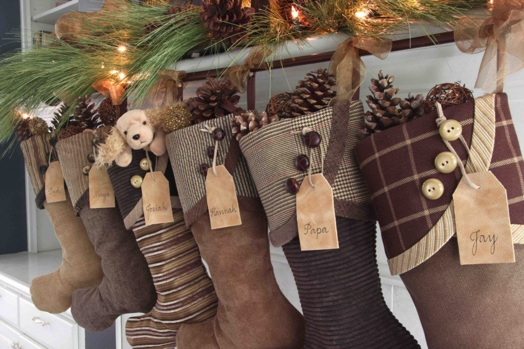 Cozy Christmas Stockings in every shade of coffee